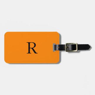 De moda negro anaranjado brillante del nombre de etiqueta para maletas
