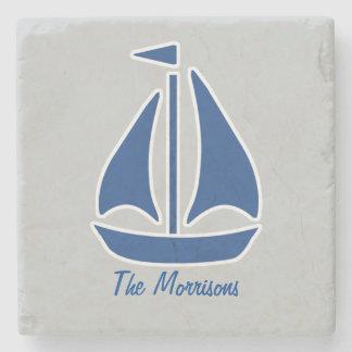 De muy buen gusto azul náutico del velero posavasos de piedra