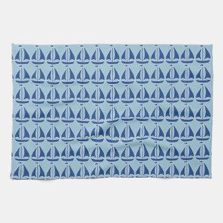 De muy buen gusto azul náutico del velero toalla de mano