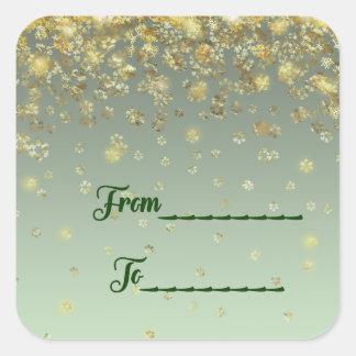 """""""De,"""" nieve del oro del pegatina del regalo del"""