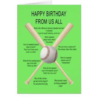 De nosotros todos, chistes del béisbol del tarjeta de felicitación
