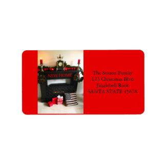 De nuestra nueva chimenea del navidad de la etiqueta de dirección