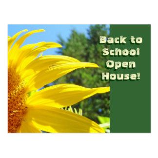 ¡De nuevo a casa abierta de la escuela! girasoles  Postal