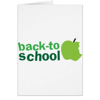 de nuevo a escuela con la manzana verde tarjetas