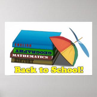 De nuevo a pila de libro de escuela poster