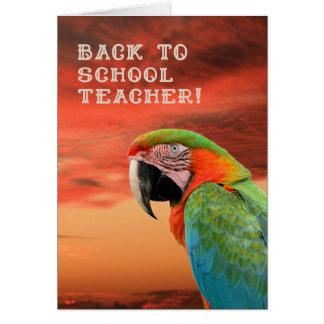 De nuevo a tarjeta de profesor de escuela con el