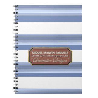 De nuevo al cuaderno blanco azul decorativo de la