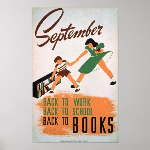 De nuevo al poster del vintage de los libros