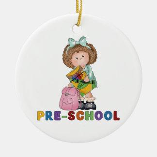De nuevo al regalo preescolar de la escuela para adorno redondo de cerámica