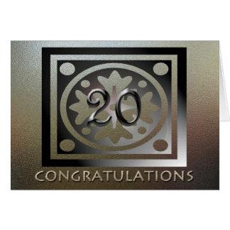 De oro elegante del vigésimo aniversario del tarjeta de felicitación