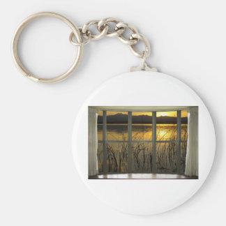 de oro-gemelo-pico-lago-ventana-vista llavero redondo tipo chapa