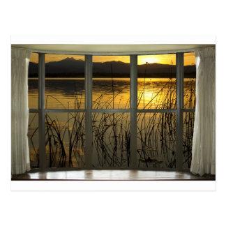 de oro-gemelo-pico-lago-ventana-vista postal