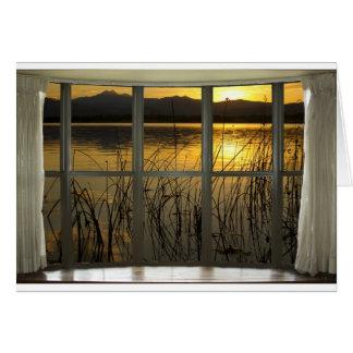 de oro-gemelo-pico-lago-ventana-vista tarjeta de felicitación