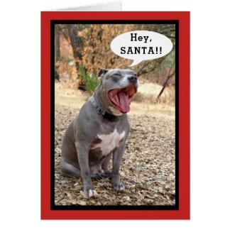 De Pitbull tarjeta de Navidad ey Santa