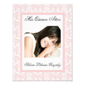 De Quinceanera del damasco rosa y blanco rosados Invitación 10,8 X 13,9 Cm