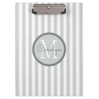 De rayas gris claro y blanco personalizado carpeta de pinza