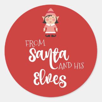 De Santa y de su etiqueta del pegatina de los