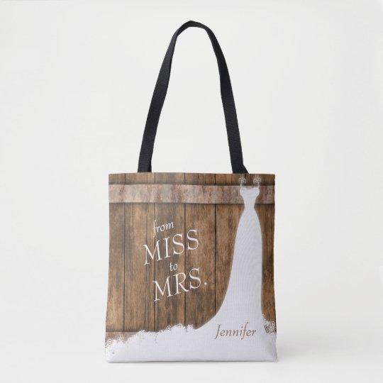 De Srta. a la señora. En estilo de madera rústico Bolsa De Tela