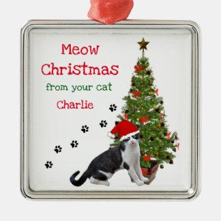 Adorno Metálico De su ornamento del navidad del gato