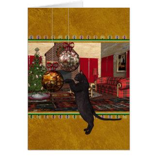 De tarjeta del gato negro del veterinario buenas