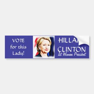 _de Voto-Hillary Clinton Pegatina Para Coche