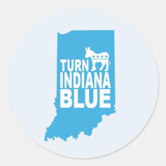 Dé vuelta al pegatina azul de Indiana que la hoja