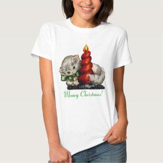 Debajo de $20: Gatito retro del navidad de Meowy Camisetas