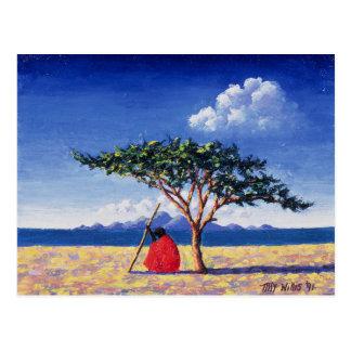 Debajo del árbol 1991 del acacia postal