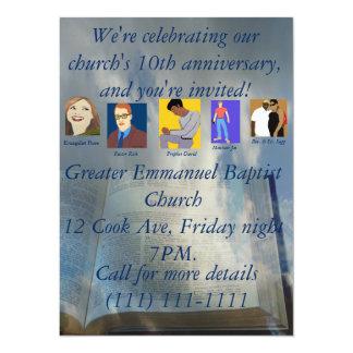 Décimo aniversario de la iglesia invitación 13,9 x 19,0 cm