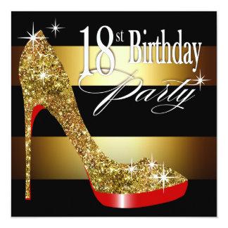 Décimo octava fiesta de cumpleaños de las rayas invitación 13,3 cm x 13,3cm