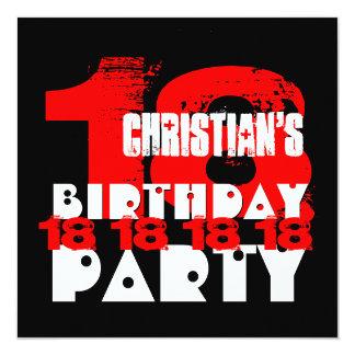 Décimo octava fiesta de cumpleaños del NEGRO ROJO Invitación 13,3 Cm X 13,3cm