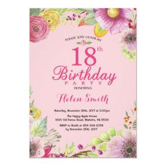 Décimo octava invitación floral del cumpleaños