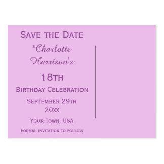 Décimo octava reserva del cumpleaños del tacón de postal