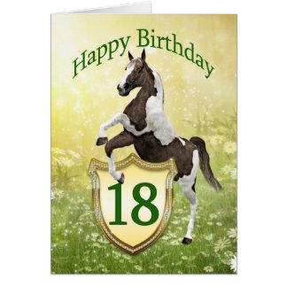 décimo octava tarjeta de cumpleaños con un caballo