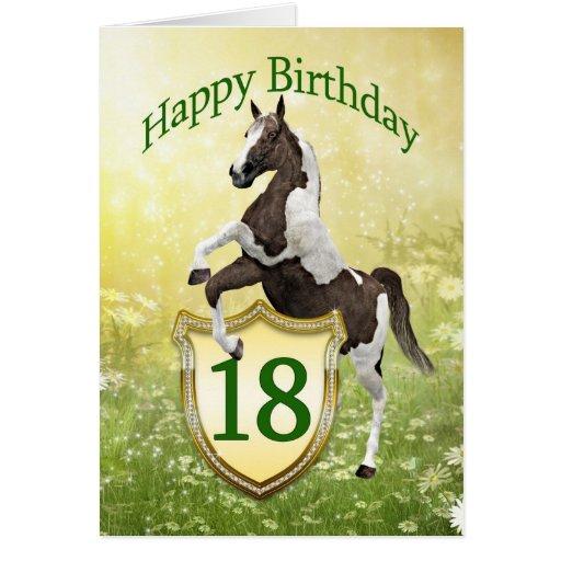 décimo octava tarjeta de cumpleaños con un caballo | Zazzle