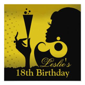 décimo octavo Amarillo del cóctel del cumpleaños Invitación 13,3 Cm X 13,3cm