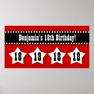 décimo octavo Bandera del cumpleaños con el nombre Posters