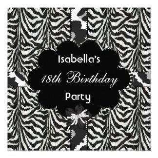 décimo octavo Cebra salvaje blanca de cumpleaños d Invitaciones Personales