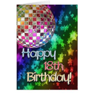 décimo octavo cumpleaños con la bola de discoteca  tarjeta de felicitación