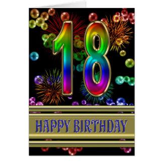 décimo octavo Cumpleaños con las burbujas y los Tarjeta De Felicitación