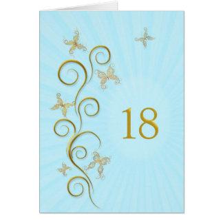 décimo octavo Cumpleaños con las mariposas de oro Tarjeta De Felicitación