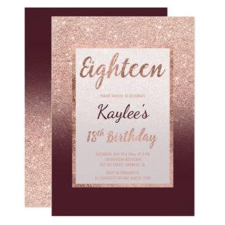 Décimo octavo cumpleaños de la falsa del oro del invitación 12,7 x 17,8 cm