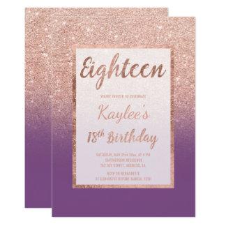 Décimo octavo cumpleaños de la falsa del oro moda invitación 12,7 x 17,8 cm