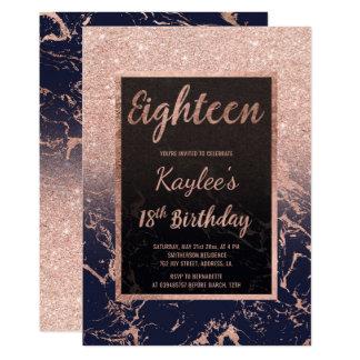 Décimo octavo cumpleaños del falso del oro del invitación 12,7 x 17,8 cm