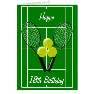 Décimo octavo cumpleaños del tenis tarjeta