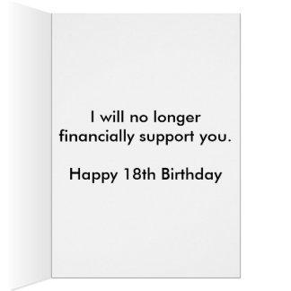 Décimo octavo cumpleaños divertido tarjeta de felicitación