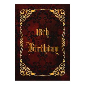 Décimo octavo cumpleaños enmarcado oro gótico invitación 12,7 x 17,8 cm