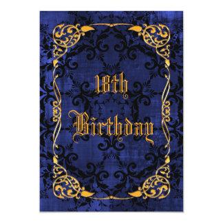 Décimo octavo cumpleaños gótico y oro enmarcado invitación 12,7 x 17,8 cm