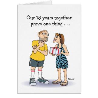 Décimo octavo dibujo animado divertido del tarjeta de felicitación