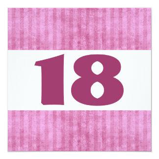 décimo octavo El rosa de la fiesta de cumpleaños Invitación 13,3 Cm X 13,3cm